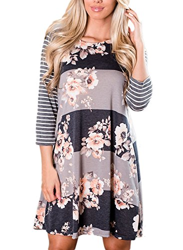 AlvaQ Women 3 4 Sleeve Floral A-Line Knee Length Casual T Shirt Dress
