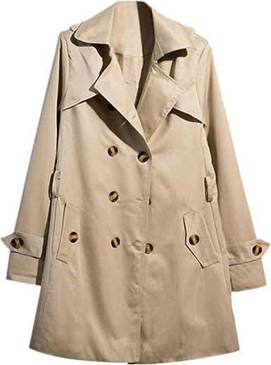 Womens Double Breasted Long Trench Coat Outwear Jacket Overcoat Slim Windbreaker