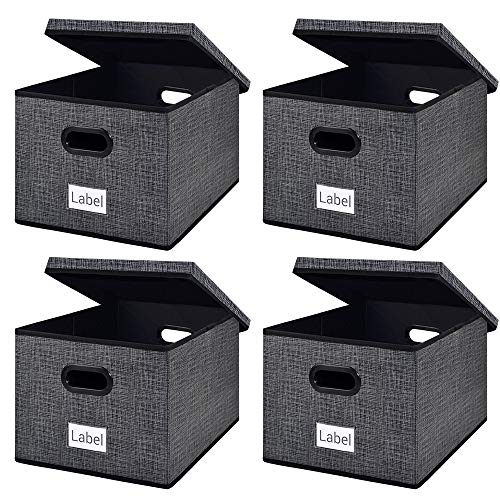 Homyfort Collapsible File Storage Box Bins with Removable Lids,Portable Office Document Organizer,Decorative Box with Plastic Handles,Large Black with Grid Printing Set of 4 (Office Plastic Storage Boxes)