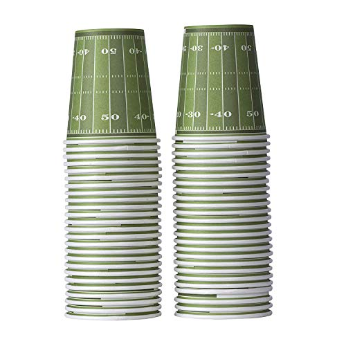 Football Themed 9 Oz Disposable Paper Cups -Superbowl Party Supplies Ideal for Tailgate Parties, Family Dinner and Sports Event (50 Pack)
