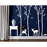 Set of 4 Big Birch Tree Wall Decals for Kids Room with Birds and Deer Vinyl Wall Stickers Decorations for Living Room