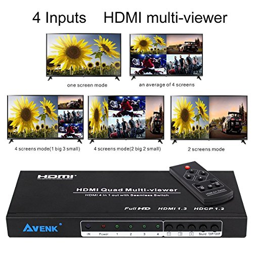 AVENK Quad Multi-Viewer 4×1 HDMI Switcher 4 Ports with Seamless Switch and IR Remote Support 1080P HDMI 1.3a
