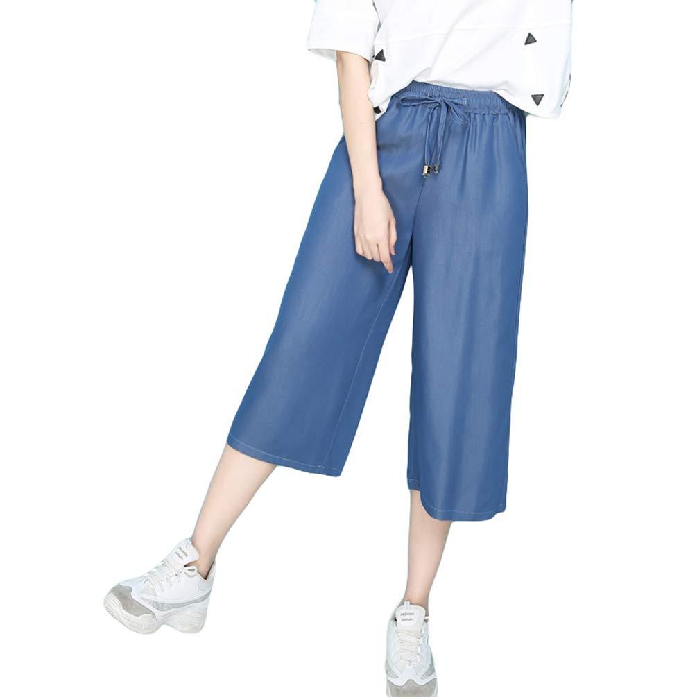 Ketamyy Donna Estate Biforcazione Bassa Alto Vita Gamba Larga Pantaloni Taglia Grossa Vita Elastica Casuale Tagliati Jeans