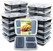 Enther - Contenedores   de comida reutilizable (20 unidades, 3 compartimentos con tapa)