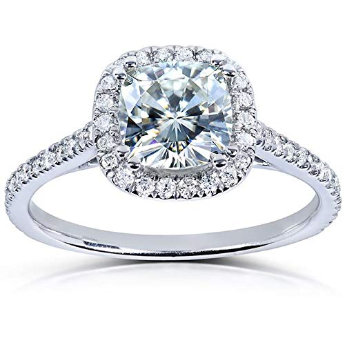 Near-Colorless (F-G) Moissanite Engagement Ring 1 1/3 CTW 14k White Gold, Size -