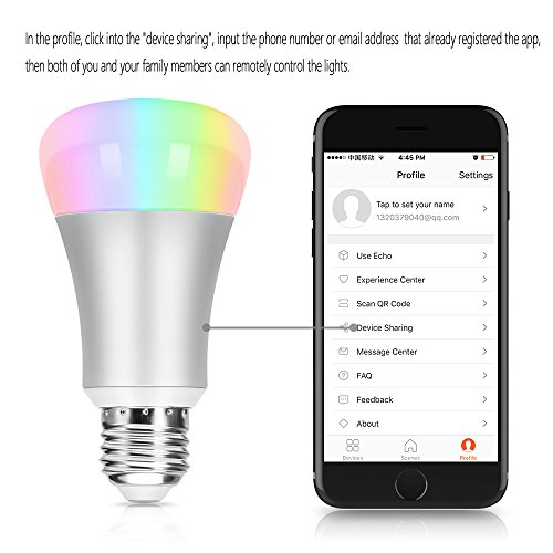 wifi smart led light bulb oittm 60w equivalent dimmable multicolored color changing lights bulb. Black Bedroom Furniture Sets. Home Design Ideas
