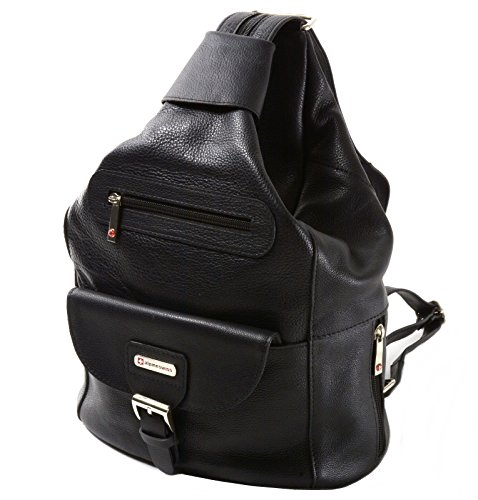Womens Alpine Swiss Arnon Genuine Leather Convertible Backpack Purse 3-in-1 Backpack, Sling, Shoulder Bag