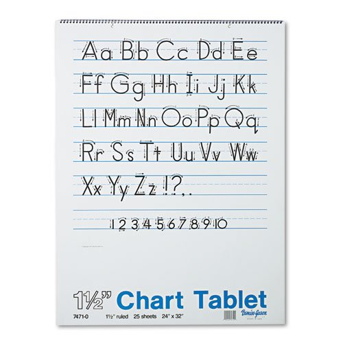 Pacon® - Chart Tablets w/Manuscript Cover, Ruled, 24 x 32, White, 25 Sheets/Pad - Sold As 1 Each - Perfect for classroom demonstrations of handwriting.