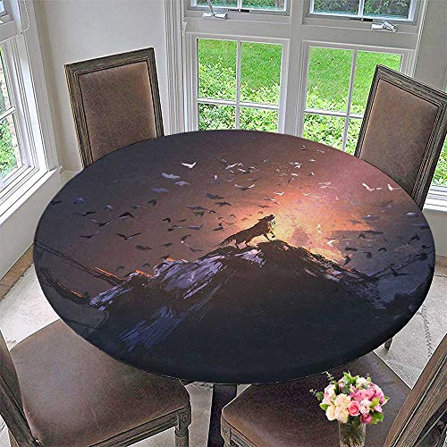 Mikihome The Round Table Cloth Decor Howling Wolf on a Rock Surrounded by Bats Birds Scary Dog Wild for Birthday Party, Graduation Party 63