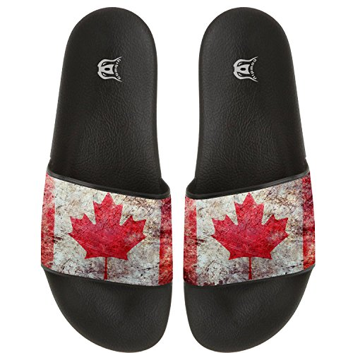 COWDIY Canada Maple LeavesComfy Slide Sandals Home Flats Shoes Shower Slip On Slipper Beach Slippers Waterproof Slippers