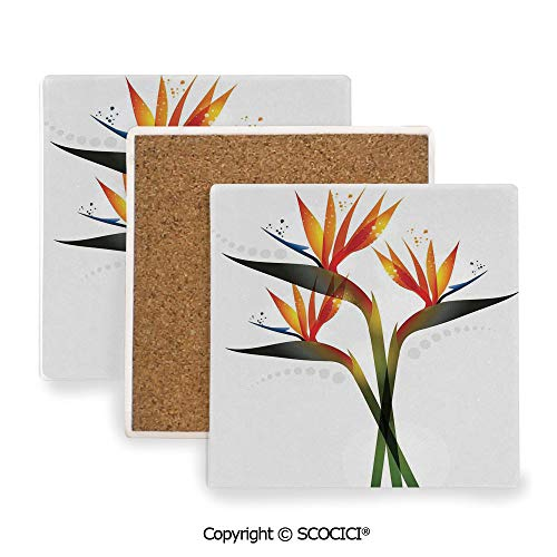 Garden Botanic Coasters Square - Ceramic Coaster With Cork Mat on the back side, Tabletop Protection for Any Table Type, Square coaster,Flower Decor,Ombre Colored Botanic Tropical Garden Plant,3.9