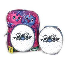 2017 Owlicorn Hatchimals Backpack & Lunch Box Insulated Padded Straps Mesh Pockets 2 Piece Set Pink Purple Reflective Stripes