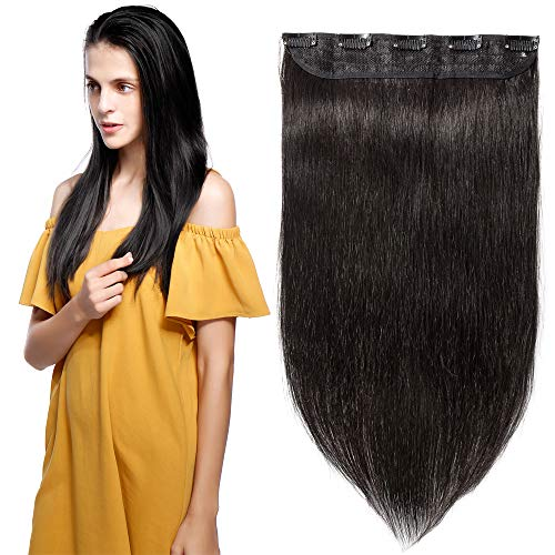 Clip in Remy Human Hair Extensions One Piece 5 clips 100% Remy Human Hair Straight Soft Extensions 3/4 FULL HEADThicker18quot90g#1B Natural Black