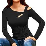 Women's Blouse,❤️❤️ ZTY66 Ladies Loose Strappy Cold Shoulder Tops Basic T Shirts (XL, Black)