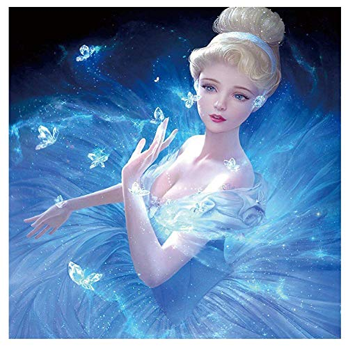 DIY 5D Diamond Painting by Number Kits Full Drill, Crystal Rhinestone Diamond Embroidery Paintings Pictures Arts Craft for Home Wall Decor, Snow Princess Ice Wedding Dress ()