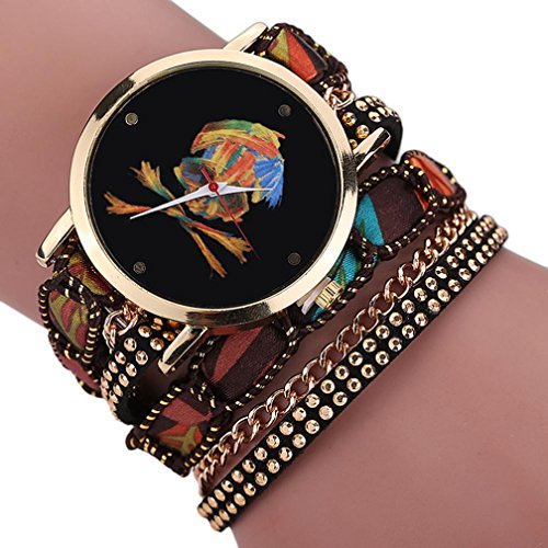 Creazy Women Girl Rhinestone Skull Pattern Quartz Bracelet Wrist Watch (BW)