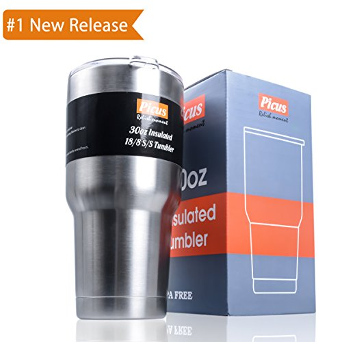 Double Wall Stainless Steel Vacuum Tumbler Picus 30 oz Travel Mug [Crystal Clear Lid] Water Coffee Cup For Home,Office,School - Works Great for Ice Drink, Hot Beverage