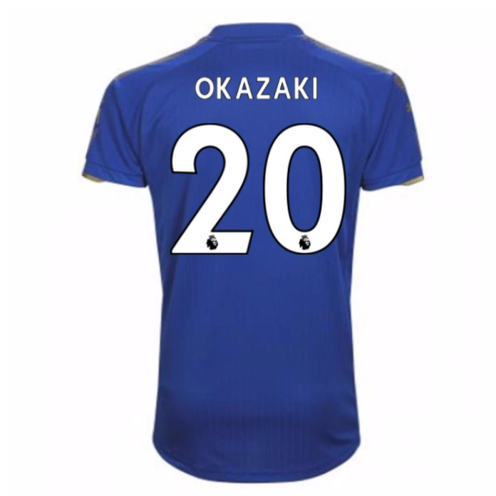 2017-18 Leicester City Home Football Soccer T-Shirt Trikot (Shinji Okazaki 20)