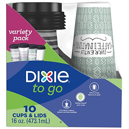 Dixie To Go Coffee Cups and Lids, 16 Oz, 10 Count, Assorted Designs, Insulated Hot Beverage Cups & Lids ()