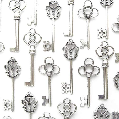 (Aokbean Vintage Skeleton Key in Antique Silver Style - Set of 30pcs (Antique)