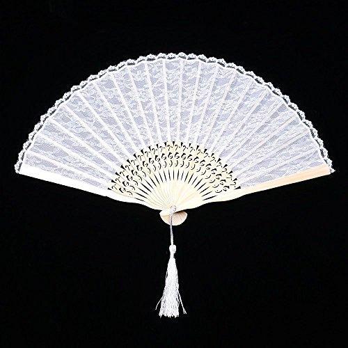 (Fan Wedding - Spanish Style Favor Fancy Dress White Folding Pocket Hand Fan Birthday Festival Decorative Movies - Wedding Programs Favors Invitation Folding Program)