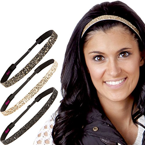 Hipsy Womens Adjustable No Slip Cute Fashion Headbands Bling Glitter Hairband Packs (3pk Black/Gold/Diva Skinny Bling Glitter)