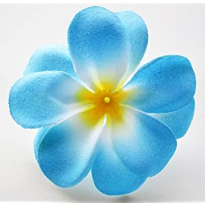 "(100) Blue Hawaiian Plumeria Frangipani Silk Flower Heads - 3"" - Artificial Flowers Head Fabric Floral Supplies Wholesale Lot for Wedding Flowers Accessories Make Bridal Hair Clips Headbands Dress 4"