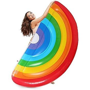 Letsfunny rainbow pool floats outdoor - Amazon inflatable swimming pool toys ...