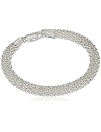 Sterling Silver Large Round Mesh Bead Bracelet, 7.5""