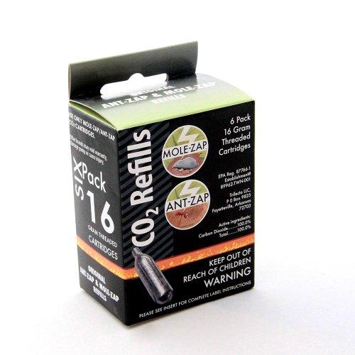 16g Threaded CO2 Cartridges 6-Pack Mole-Zap/Ant Zap Refills by Mole-Zap/Ant-Zap (Image #1)