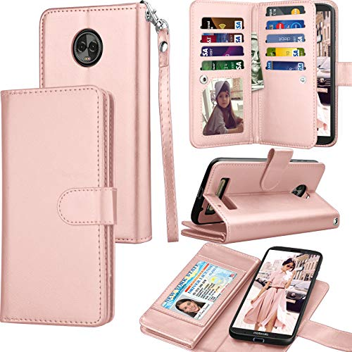 Moto Z3 Case, Motorola Moto Z3 Play Wallet Case, Tekcoo Luxury ID Cash Credit Card Slots Holder Purse Carrying PU Leather Folio Flip Cover [Detachable Magnetic Hard Case] & Kickstand - Rose Gold