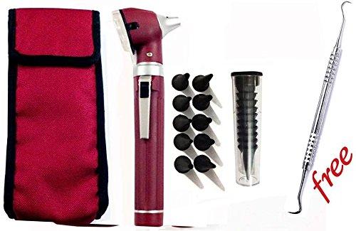 Fiber Optic Mini Otoscope Set - Medical Diagnostic Examination Set - Pocket Size - (MAROON)