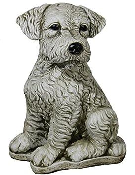 Figura Perro Fox Terrier De Piedra Para Jardin O Exterior 32cm