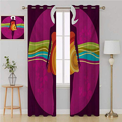 Benmo House Youth grummet Curtain Blackout Window CurtainYoung Beauty in an Abstract Dress on Big Pink Dots Wavy Striped Border and Flowerscurtains for Bedroom 120 by 96 InchMulticolor ()