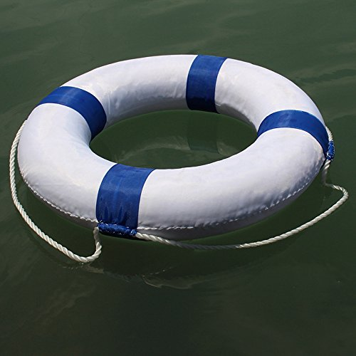 Foam Swim Rings - Swimming Pool Life Ring Buoy with Perimeter Rope (Red) by F&U (Image #4)