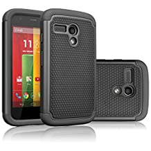 Motorola Moto G Case, Moto G 1st Gen Case, Tekcoo(TM) [Tmajor Series] Shock Absorbing Hybrid Rubber Plastic Impact Defender Rugged Slim Hard Case Cover For Moto G 3G / 4G LTE (Black / Black)