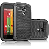 Motorola Moto G Case, Tekcoo(TM) [Tmajor Series] Shock Absorbing Hybrid Rubber Plastic Impact Defender Rugged Slim Hard Case Cover For Motorola Moto G (1st Gen only) 3G / 4G LTE (Black / Black)