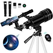 #LightningDeal Occer Telescopes for Adults Kids - Portable Telescope for Beginners for View Moon - 70mm Aperture 300mm Lightweight Refracting Telescopes with Adjustable Tripod Moon Filter Wireless Remote