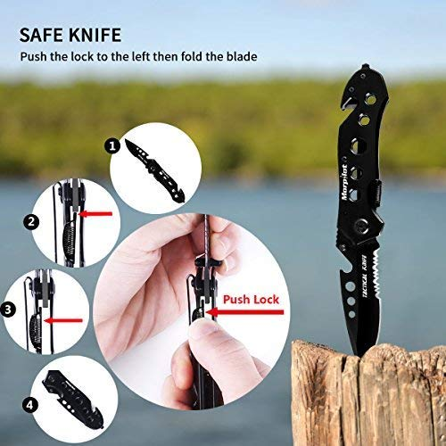 Morpilot Tactical Knife Tactical Flashlight Set Rescue Folding Pocket Knife LED Torch Adjustable Focus and 5 Light Modes, Outdoor Water Resistant 500LM for Camping Hiking Backpacking Fishing Ideal for Gift