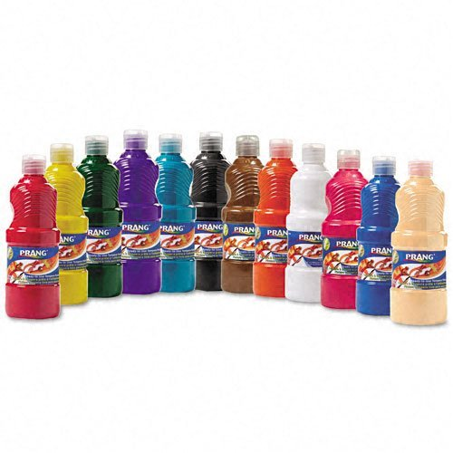 PRANG Ready-to-Use Liquid Tempera Paint, 16-Ounce Bottles, Assorted Colors, 12 Count (21696)