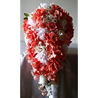 Coral Ivory White Rose Hydrangea Cascading Bridal Wedding Bouquet & Boutonniere