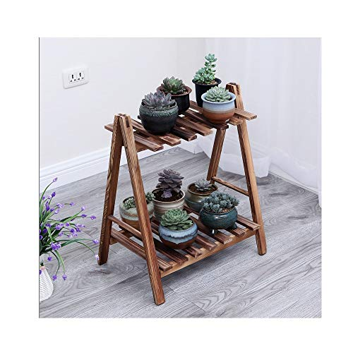 JUN Carbon RoastFlower Frame Solid Wood Indoor and Outdoor Multi-Storey Living Room Balcony Green Flower Rack Storage Rack Home Small Flower Pot Flower Stand (Color : Carbon Roast, Size : ()
