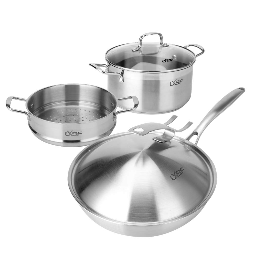 HPCZZ Cooking Tools Food Grade 3 Pieces of Stainless Steel Steaming Pot Cookware Set Soup Pot Milk Pot Fry Pan Combination Set 141[並行輸入]   B07L4JC6K1