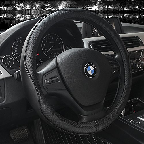 Leather Mercedes Benz Steering Wheel Cover (Steering Wheel Covers Universal 15 inch - Genuine Leather, Breathable, Anti Slip & Odor Free(Black with Black Lines))