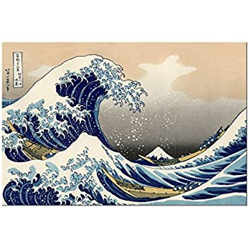 Wieco Art - Great Wave of Kanagawa Katsushika Hokusai Large Modern Framed Giclee Canvas Prints Abstract Seascape Sea Artwork Pictures Paintings on Canvas Wall Art for Living Room Home Decorations