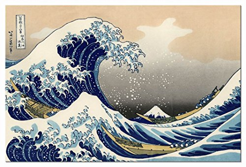 Wieco Art Great Wave of Kanagawa Katsushika Hokusai Giclee Canvas Prints Wall Art Abstract Seascape Pictures Paintings for Living Room Home Decorations Large Modern Stretched and Framed Sea Artwork ()