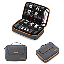 "BAGSMART 3-layer Large Travel Cable Organizer Electronics Accessories Case for 9.7"" iPad, Kindle, External Hard Drives, Cables, Gray and Orange"