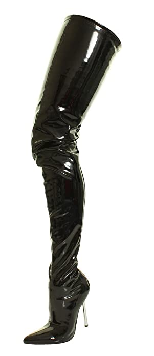Tilly London Sexy Fetish Crotch Thigh High Over The Knee Heel Black Shiny  Stretch PVC Silver Steal Stiletto Platform Boots  Amazon.co.uk  Shoes   Bags 63df35472a