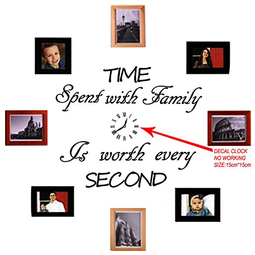 - Time Spent with Family Is Worth Every Second,Sticker Clock,Wall Decal,Home Decal (No Photos And Photo Frames Included)