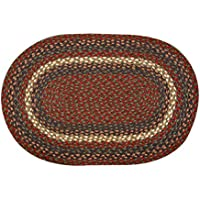 Burgundy/Gray 3x5 Oval Jute Braided Rug